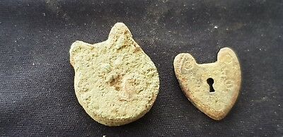 Two tiny very rare post medieval padlock parts as photos, uncleaned con. L440