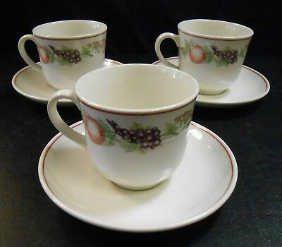 Boots Orchard Pottery 3 x matching teacups and saucers  Ro