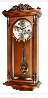 Grandfather Style Wooden Pendulum Wall Clock with Ornate Top & Large Numbers 788