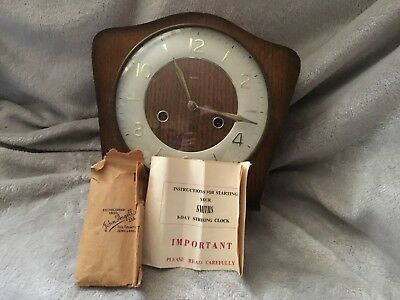 Smiths Striking Chiming Mantel Clock Working with key + pendulum + instructions