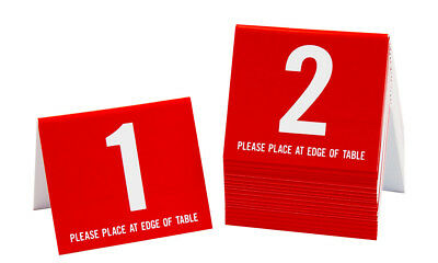 Plastic Table Numbers 1-20, Tent Style, Red w/white number, Free shipping