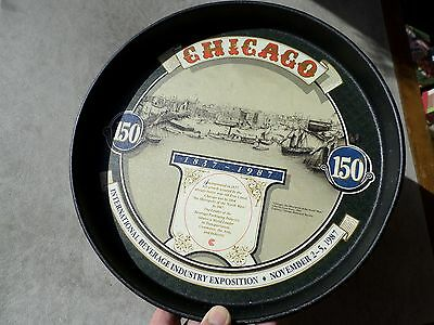 """Metal 12"""" Tray CHICAGO """"Erie Canal"""" 150th International Beverage November 1987"""