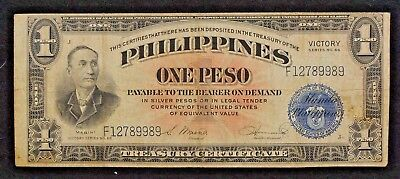 1944 Series #66 Mabini Philippines One Peso WWII Victory Overprint Banknote