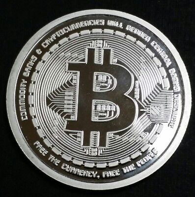 Bitcoin Proof 1 Oz .999 Fine Silver Coin Bitcoin QR Code Value Commemorative