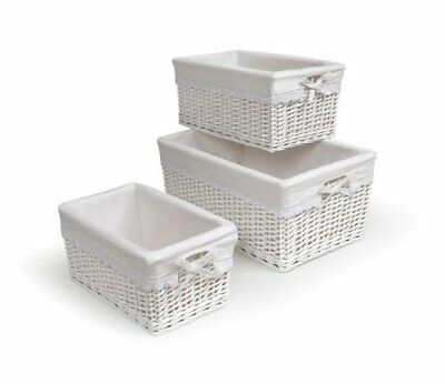 Wicker with Liners - White - 3/set