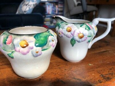 Carlton Ware Australian Design Floral Milk Jug and Sugar Bowl Creamer England