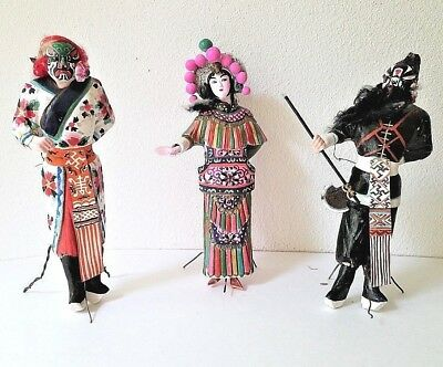 Trio Antique Chinese Jing Opera Puppets/Dolls Signed Clay/Paper Hand Painted