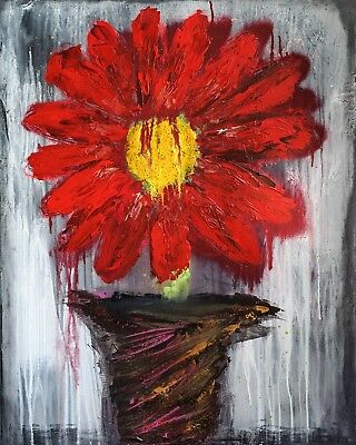 AB1059 Red Gray Flower Modern Abstract Canvas Wall Art Large Picture Prints