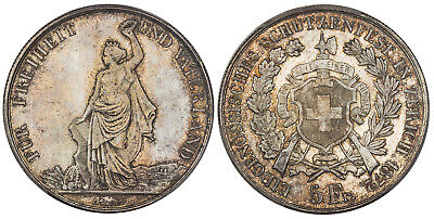SWITZERLAND. 1872 AR 5 Francs Shooting Thaler. PCGS MS65 Lovely original gem.
