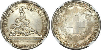 SWITZERLAND. 1861 AR 5 Francs Shooting Thaler. NGC MS65. X-S6. Nidwalden