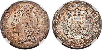 DOMINICAN REPUBLIC. 1891-A AR 5 Francos. NGC MS64 KM 12. Satiny luster