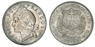 DOMINICAN REPUBLIC. 1891-A AR 5 Francos. NGC 1891 KM 12. Attractively toned.