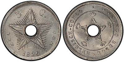 BELGIAN CONGO. 1926/5 Cu-Ni 5 Centimes. PCGS MS64. KM17. Key date of the series.