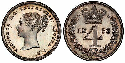 GR. BRIT. Victoria. 1853 AR Maundy Fourpence. NGC PR63 SCBC-3917 Light tone