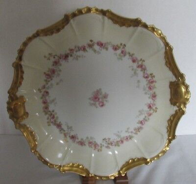 "B&h Limoges France V Fancy Gold Hp Raised Pink Floral 12"" Cabinet Plate Beauty!"
