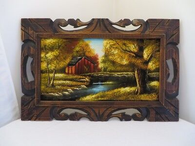 Vintage Mexican Velvet Painting in Hand Made Primitive Frame - Autumn Farm