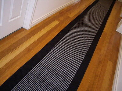 Hallway Runner Hall Runner Rug 4 Metres Long Modern Blk Grey FREE DELIVERY 47411
