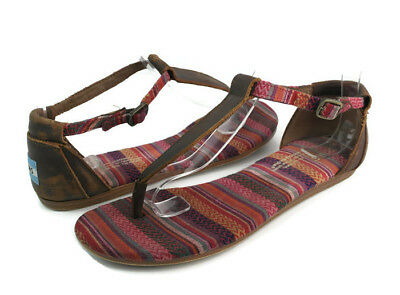 d1573e30297 Toms Women s Multi-Color Leather Fabric Ankle T-Strap Thong Sandals US Size