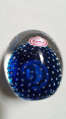 Antique Rainbow Paperweight Hand Blown Controlled Bubbles Cobalt Blue & Clear