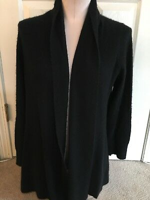 A PEA IN THE POD BLACK 100% CASHMERE OPEN FRONT MATERNITY SWEATER Sz L