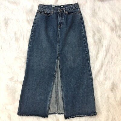 GAP Womens Size 4 Denim Jean Skirt Medium Wash Long Front Slit 100% Cotton