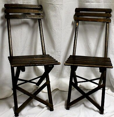 Vintage Parisian Style Slatted Oak Bistro Chairs, Set of Two