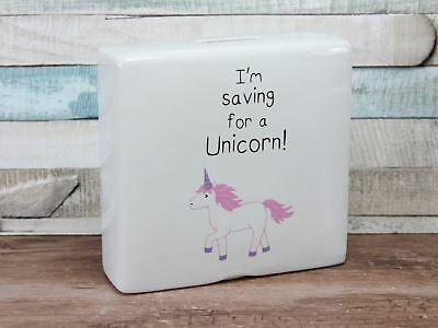 Large Ceramic Im'n Saving For A Unicorn Money Box