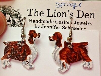 Springer Spanial Earrings Hand Made by Jennifer Schroeder-1 inch Nose to Tail
