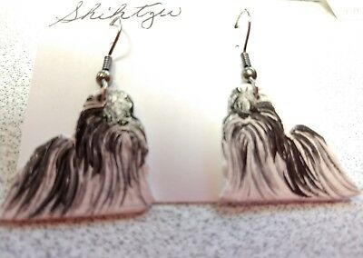 SHIHTZU Earrings Hand Made by Jennifer Schroeder-1 inch Nose to Tail