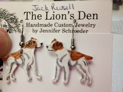 JACK RUSSELL  Earrings Hand Made by Jennifer Schroeder-1 inch Nose to Tail