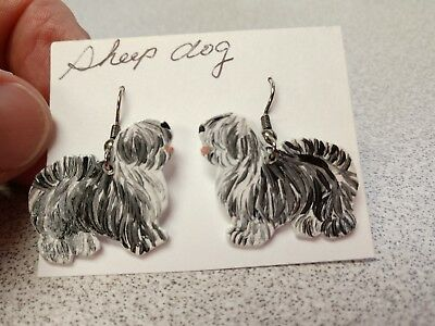 ENGLISH SHEEP DOG  Earrings Hand Made by Jennifer Schroeder-1 inch Nose to Tail