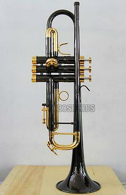 Professional New Black Nickel Trumpet horn Monel Valve Engraving Bell With Case
