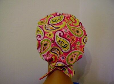 PIXIE- Scrub Hat/Chemo Cap- Multi color Paisley - Handmade - One Size