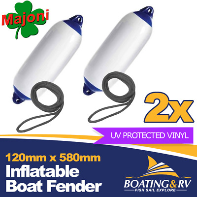 2 x Inflatable Boat Fenders w Fender Lines | 150 x 580mm Quality Marine Fenders
