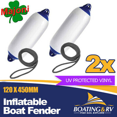 2x Blue Tip Inflatable Fenders w Fender Lines | 120 x 450mm Quality Boat Fenders