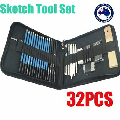 32pcs Drawing Sketch Set Charcoal Pencil Eraser Art Craft Painting Sketching Kit
