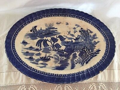 Antique BLUE WILLOW Blue Transferware Platter