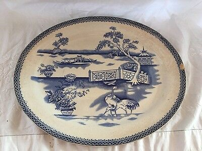 Antique Blue Willow Transferware Platter
