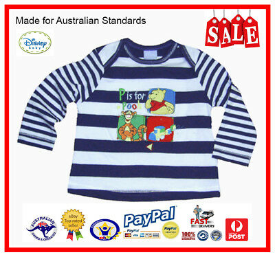 GENUINE AUS LICENSED Baby Boys Pooh Bear & Tigger Emb. Long Sleeve Tee Top-SALE