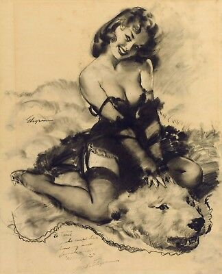 Bear Facts Study for Gil Elvgren Vintage Pin-Up Sexy Girl Print Photo