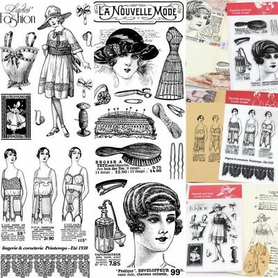 Lady Retro Style Transparent Silicone Rubber Stamp Sheet Cling Scrapbook DIY