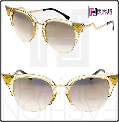 045a88a49ac3 FENDI IRIDIA FF0041 Crystal Yellow Gold Translucent Mirror Sunglasses Optyl  0041