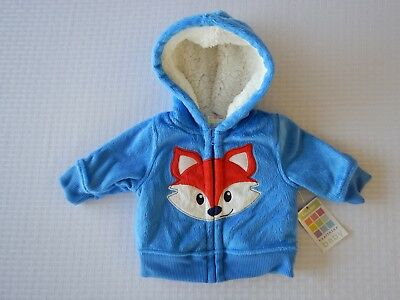 Healthtex Infant Baby Toddler Boys Blue Jacket Sweatshirt Fleece Hoodie With Fox