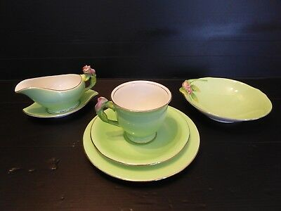 Art Deco Royal Winton Rosebud Tea Set Trio, Milk Jug with Saucer & Bowl Set