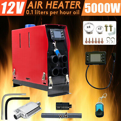 12V 5KW Diesel Air Heater 4 x Duct Digital Thermostat for Caravan Motorhome RV