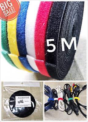 """Roll 5M """"High Quality"""" Cable Tie Strap Hook & Loop Self Grip Wire Fastening Tape"""