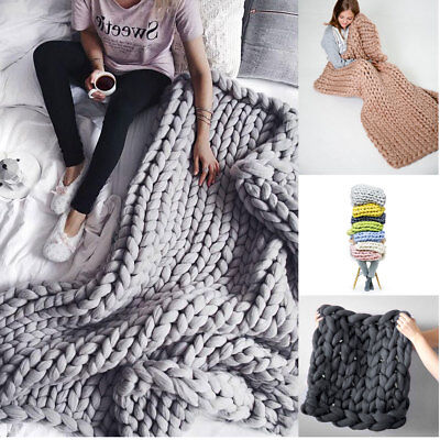 Warm Handmande Chunky Knitted Blanket Thick Yarn Merino Knit Throw Bed Sofa Room