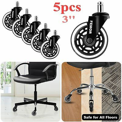 5x3'' Soft Rubber Castor Wheels Non Marking Office Furniture Chair Swivel Caster