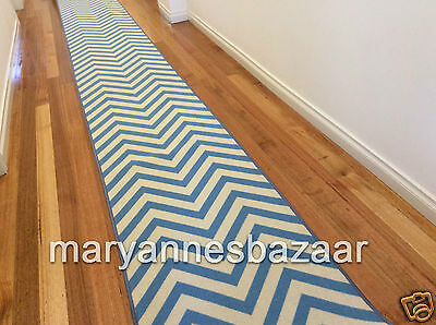 Hallway Runner Hall Runner Rug Modern Chevron Blue 7 Metres Long FREE DELIVERY