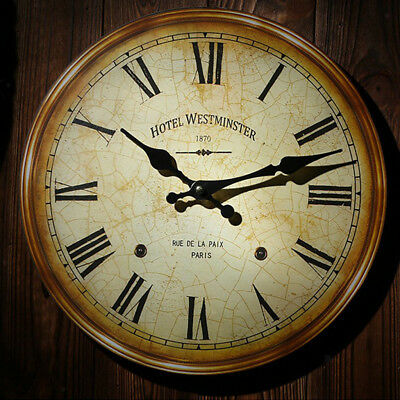 Rustic Wooden Wall Clock Vintage Shabby Chic Kitchen Office Decor Gift #3